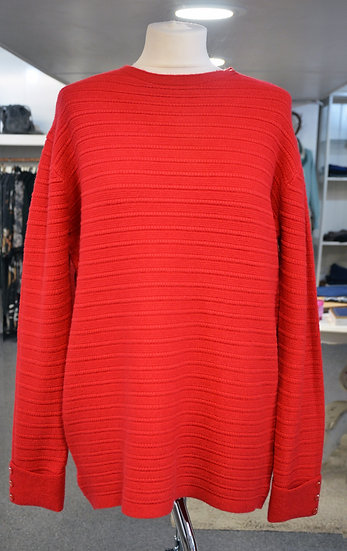 Red Ribbed Jumper with Button Detail on Sleeves
