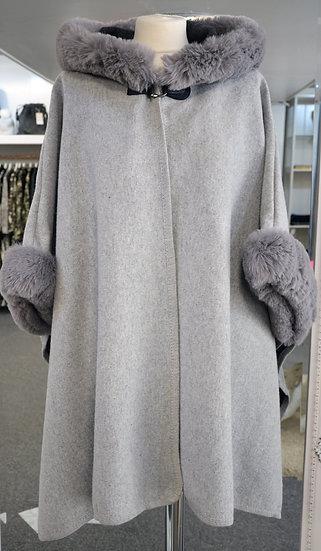 Grey Faux Fur Hooded Cape