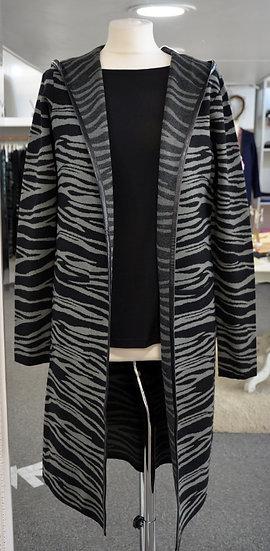 Rino & Pelle Mint Zebra Print Faux Leather Trim Hooded Cardigan