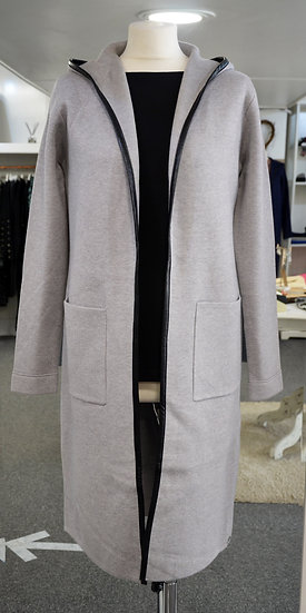 Rino & Pelle Grey Faux Leather Trim Hooded Cardigan