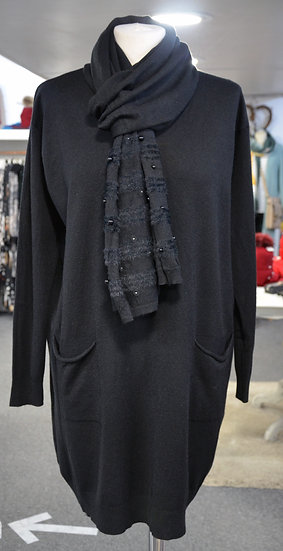 Longline Jumper with Back Detailing & Scarf - 4 colours Available