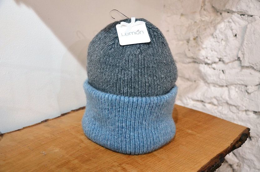 Lemon Collection Blue/Grey Beanie Hat