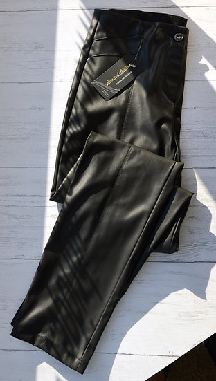 Anna Montana Black Faux Leather Trousers