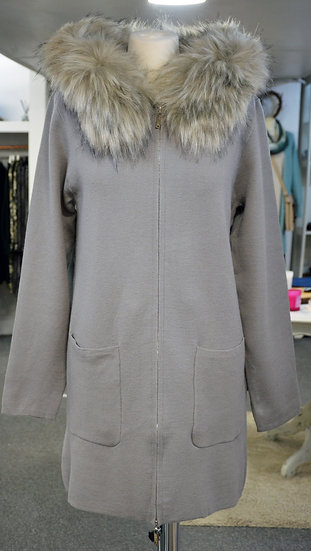 Rino & Pelle Taupe Faux Fur Hooded Zip Cardigan