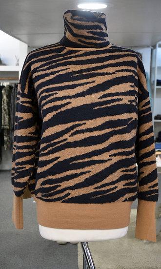 Rino & Pelle Brown Zebra Print Roll Neck Jumper