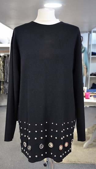 Long Black Jumper With Silver Detailing
