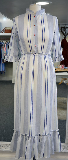 Dream White & Blue Stripe Dress with Heart Detail Buttons