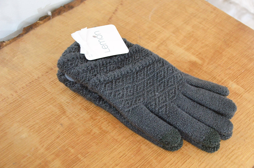 Lemon Collection Grey Textured Gloves