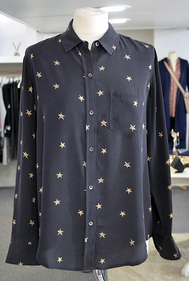 Rails Black with Gold Animal Print Stars Silk Shirt