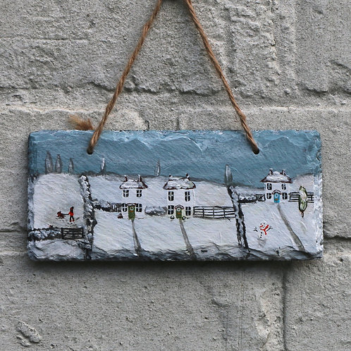 Fun In The Snow Hand Painted Rectangle (18x8cm)