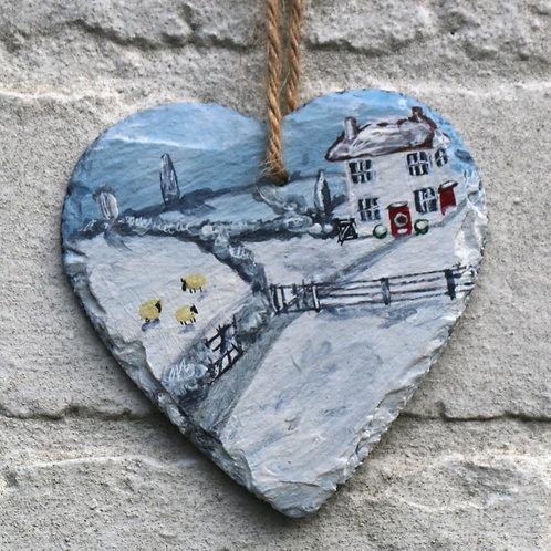 Mistletoe Cottage Hand Painted Heart (10cm)