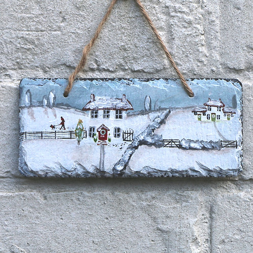 Winter Day Walk Hand Painted Rectangle (18x8cm)