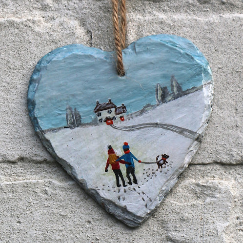 Christmas Day Walk Hand Painted Heart (10cm)
