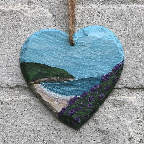 Heather Heath Cove Hand Painted Heart (10cm)