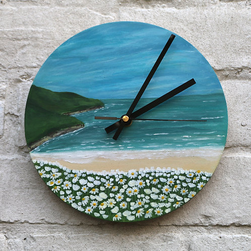 Hand Painted Twin Cliff Beach Clock