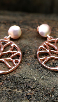Tree of Life Earrings - Brushed Rose Gold