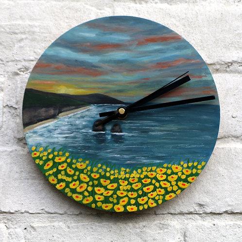 Hand Painted Sunset Coast Clock