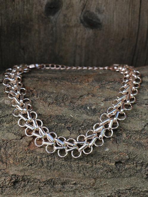 Double Circle Choker Necklace - Rose Gold