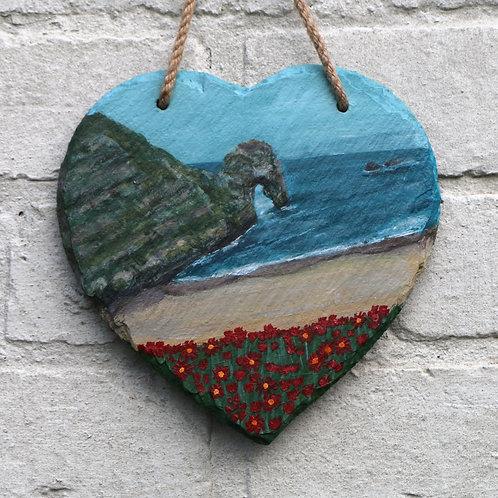 Durdle Door Hand Painted Heart (20cm)