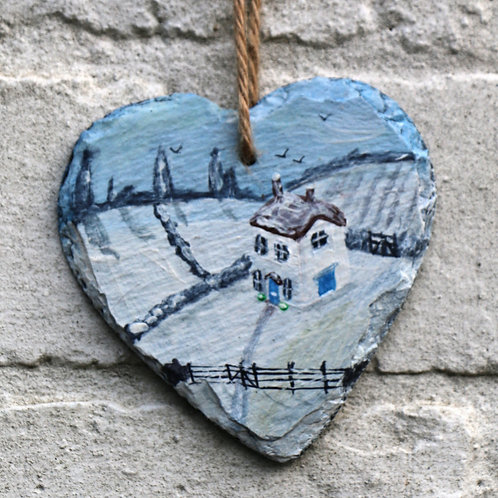 Snowy Day Hand Painted Heart (10cm)