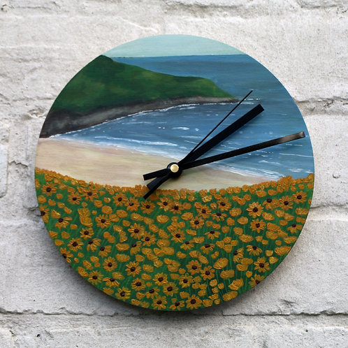Hand Painted Sunflower Bay Clock