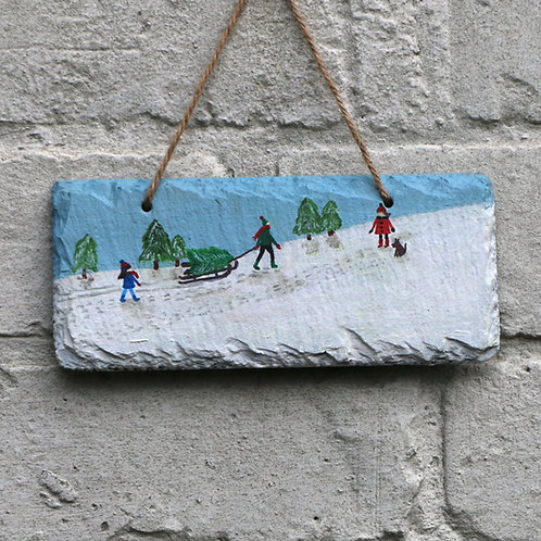Picking The Tree Hand Painted Rectangle (18x8cm)