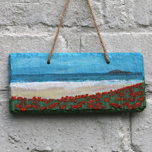 Coral Sand Cove Hand Painted Rectangle (18x8cm)