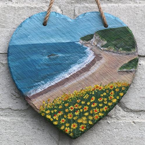 Swyre Head Nr Durdle Door Hand Painted Heart (20cm)