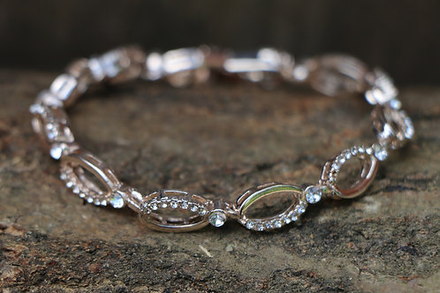 'Plaited' Diamante Bracelet - Rose Gold