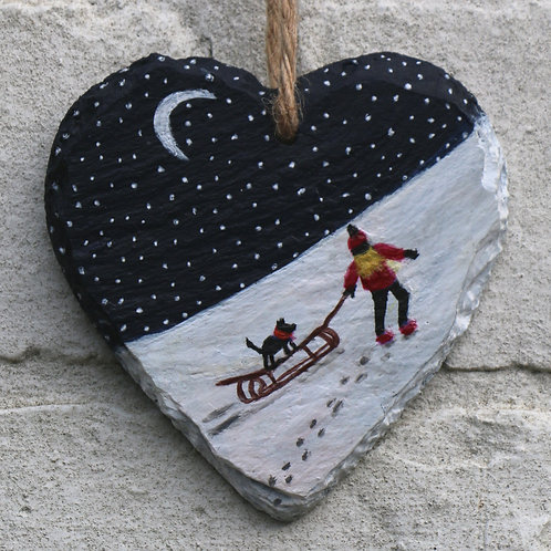 Midnight Sleigh Ride Hand Painted Heart (10cm)