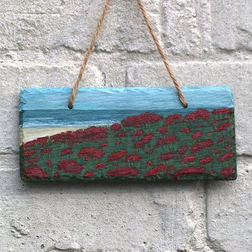 Red Flower Beach Hand Painted Rectangle (18x8cm)