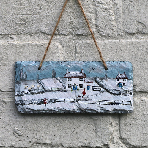 Christmas Cottage Hand Painted Rectangle (18x8cm)