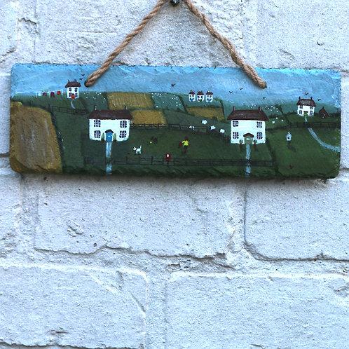 Rowan Cottage Hand Painted Rectangle (30x10cm)