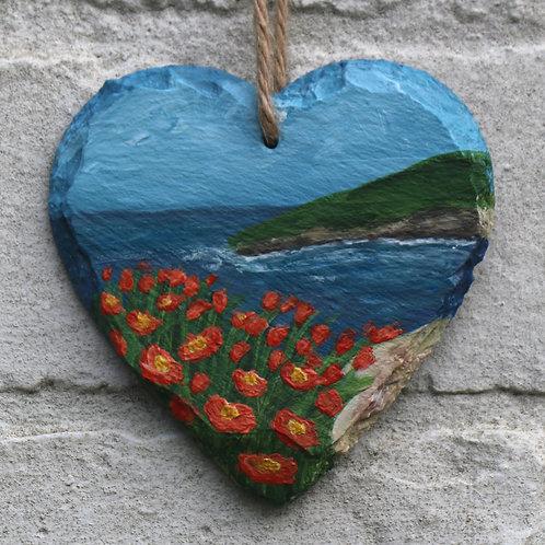 Orange Flower Bay Hand Painted Heart (10cm)