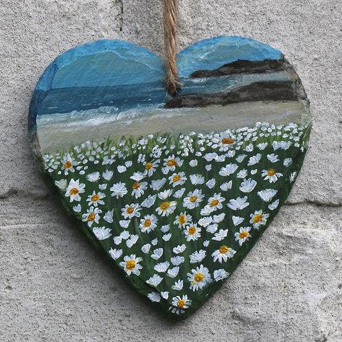Daisy Bay Hand Painted Heart (10cm)