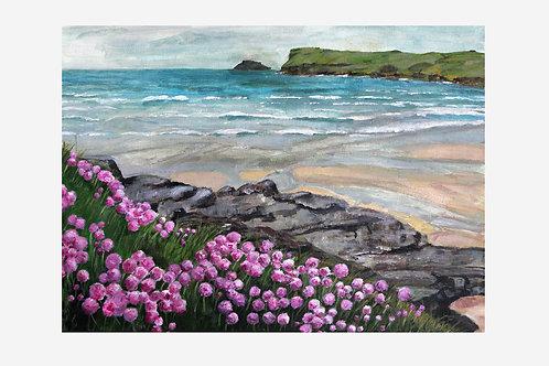 Pink Flowers on Polzeath Beach
