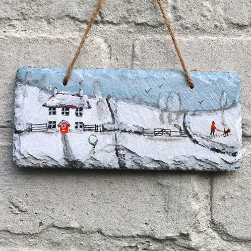 Winter Walk Hand Painted Rectangle (18x8cm)