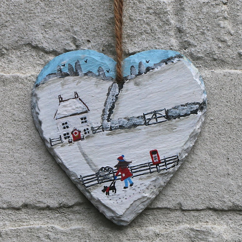 Winter Visit Hand Painted Heart (10cm)