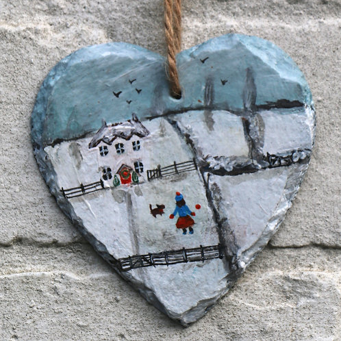 Snow Play Hand Painted Heart (10cm)
