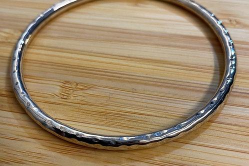 Round Hammered Silver Bracelet