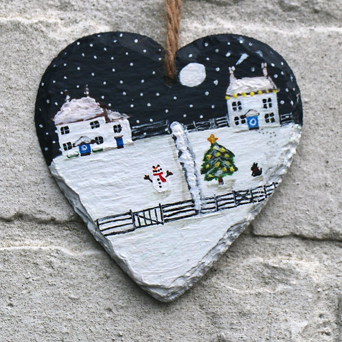 Christmas Night Hand Painted Heart (10cm)