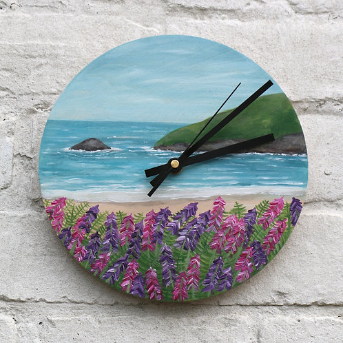 Hand Painted Foxglove Cove Clock