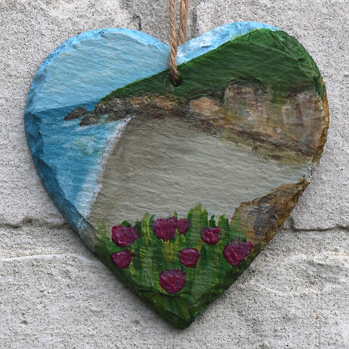 Golden Point Hand Painted Heart (10cm)