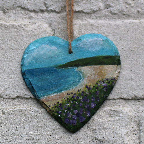 Purple Cove Hand Painted Heart (10cm)