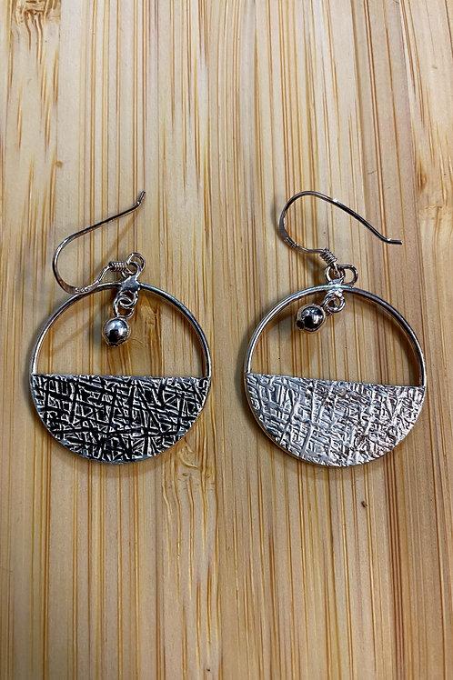 Patterned Hooped Silver Earrings