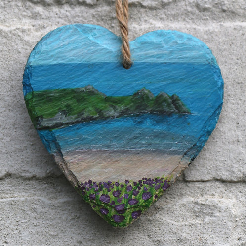 Three Cliffs Bay Hand Painted Heart (10cm)