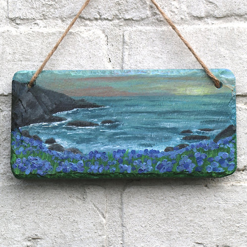 Purple Sunset Cove Hand Painted Rectangle (25x12cm)