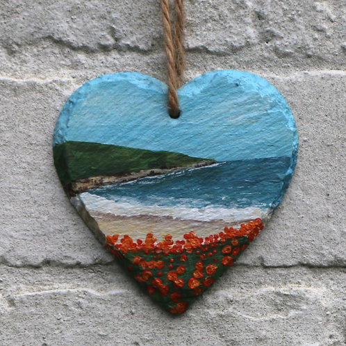 Long Sand Bay Hand Painted Heart (10cm)