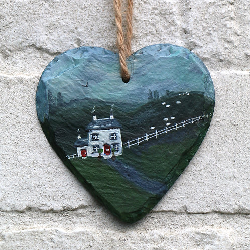 White Cottage Hand Painted Heart (10cm)