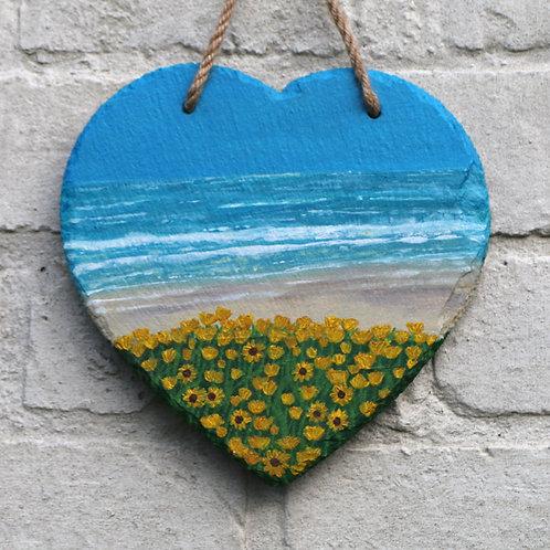 Blue Beach Hand Painted Heart (20cm)